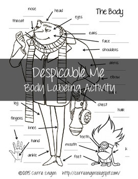 Despicable Me Body Labeling Activity