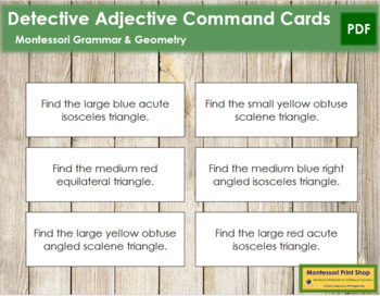 Detective Adjective Command Cards