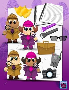 Detective Kids and Investigator Accessories Clipart Bundle 2