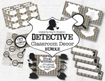 Detective Theme Classroom Decor Bundle *Editable*