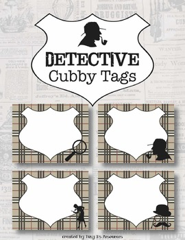 Detective Theme Cubby Tags or Labels *Editable*