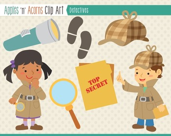 Detectives Clip Art - color and outlines