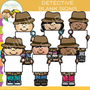 Detectives with Blank Signs Clip Art