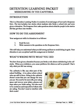 Detention Learning Packet: Cafeteria Problem