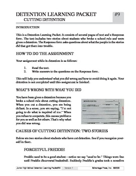 Detention Learning Packet: Cut Detention