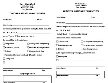 Detention Slip - Quick and Easy