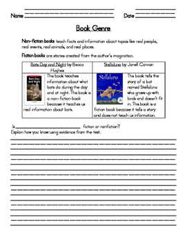 Determine if Book is Fiction vs NonFiction Worksheet