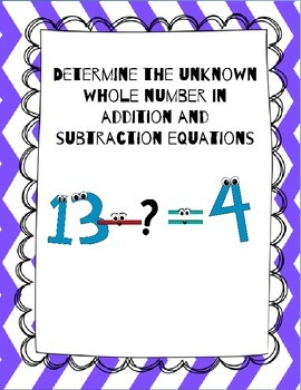 Determine the Unknown Whole Number in Addition and Subtrac