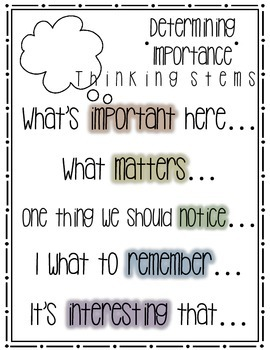 Determining Importance Thinking Stems Poster