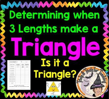 """Determining when 3 lengths make a Triangle Worksheet """"Is i"""