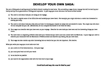 Develop Your Own Viking Saga Assignment With Rubric