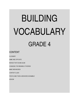 Developing Vocabulary For Elementary Grades 4