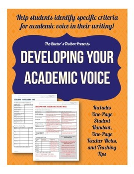 Developing Your Academic Voice: An Organizer for Student R