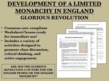 Development of Limited Monarchy in England - Glorious Revo
