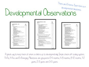 Developmental Observation (Age Milestones) Check Lists 0 t