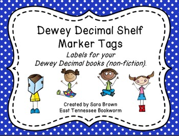 Dewey Decimal Labels for Shelf Markers in Blue
