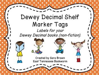 Dewey Decimal Labels for Shelf Markers in Orange
