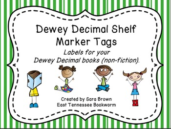 Dewey Decimal Labels for Shelf Markers in Green