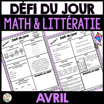 Défi du jour - Avril     (French problem of the day/Literacy fun)
