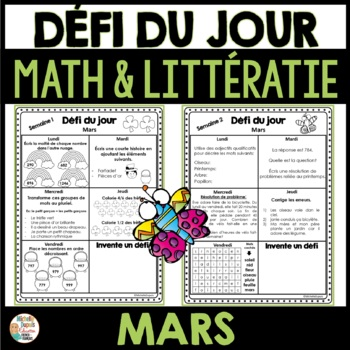 Défi du jour - mars (French Problem of the day and Literacy FUN!)