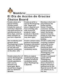 Dia de Accion de Gracias Choice Board by Elissa Garcia