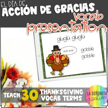 Día de Acción de Gracias Vocab Powerpoint with Pictures (T