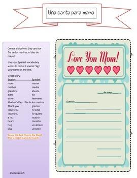 Dia de las madres / Mother's Day card activity