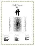 Dia de los Veteranos - Veterans Day- Word Search and Doubl
