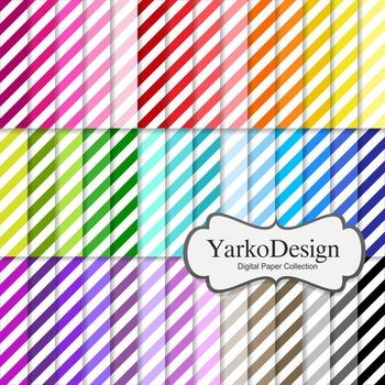 Diagonal Stripes Digital Scrapbooking Paper Set, 42 Digita