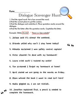 Dialogue/Quotation Scavenger Hunt