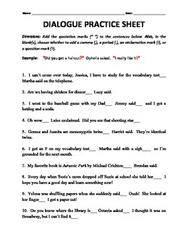 Printables Dialogue Worksheets dialogue tags and end punctuation practice by h shah teaches worksheet