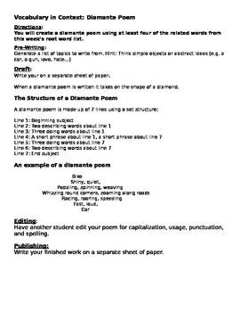 Diamante Poem Vocabulary Assignment