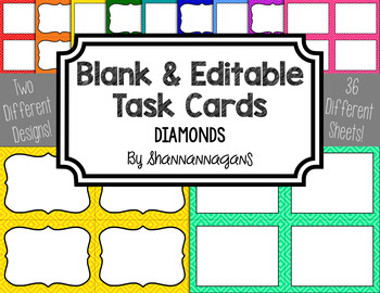 Diamond Blank Task Cards (Basic Colors)
