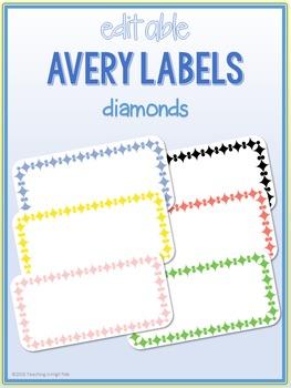 Diamond Border Labels * Editable * Avery 5163 (4x2)