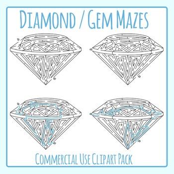 Diamond Mazes / Jewel Mazes Clip Art Set for Commercial Use
