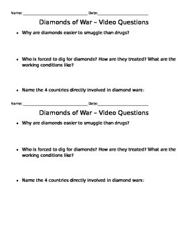 """Diamonds of War"" National Geographic Video Worksheet Notes"