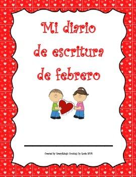 Diario de escritura - febrero.  Spanish writing journal fo