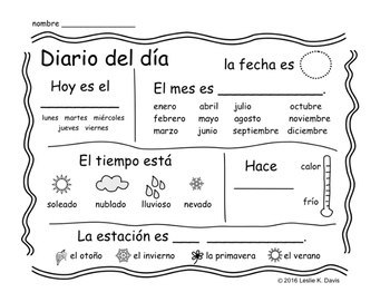 Spanish Diario del día (Spanish Calendar & Weather Journal Page)