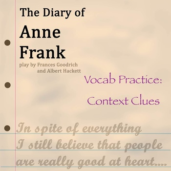 """""""Diary of Anne Frank"""" by Goodrich & Hackett - Vocabulary P"""