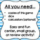 Dice Game for Math Centers - 2-digit Addition