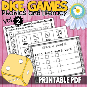 Dice Games for Literacy Centers - Vol. 2 - CVC Words