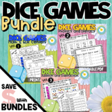 Dice Games for Math and Literacy Centers BUNDLE - 3 Resources
