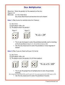 Dice Multiplication Math Game - Math Centers