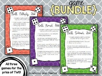 Dice Roll Game Bundle - Rounding, Subtracting, Multiplying