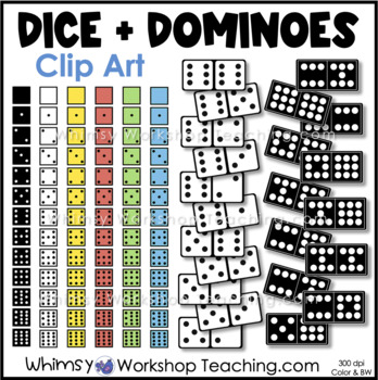 Dice and Dominos Math Clip Art Set - Whimsy Workshop Teaching