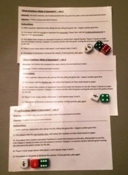 Dicey Fractions--Equivalent Fractions game