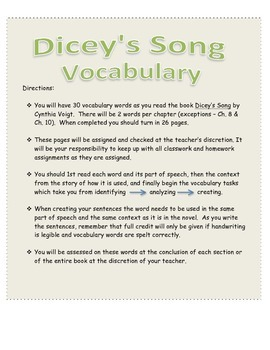 Dicey's Song by Cynthia Voigt - Novel Extensive Vocabulary Packet
