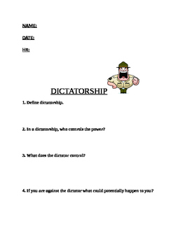 Dictatorship  Worksheet
