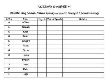 Dictionary Challenge #1