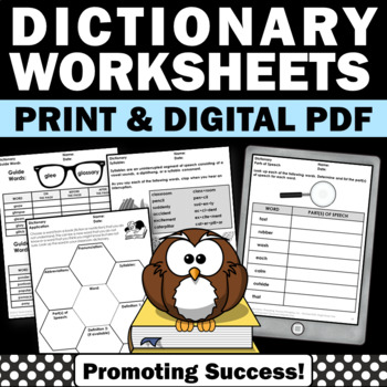 Dictionary Skills Worksheets with Guide Words... by Promoting ...